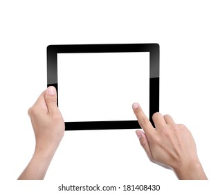 Women holding Tablet PC for do something with white background