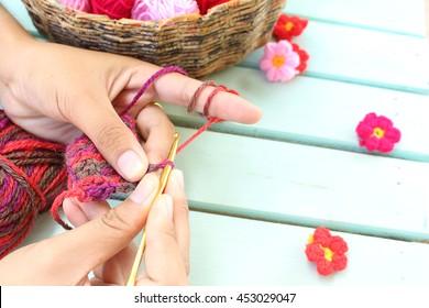 Women knit and crocheting