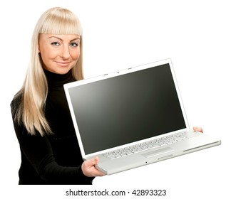 Women with laptop isolated. Display with clipping path