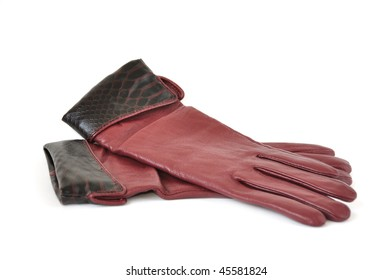 women leather gloves isolated on white background