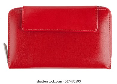 Women leather wallet, red, isolated