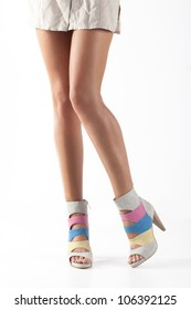 women legs with shoes isolated