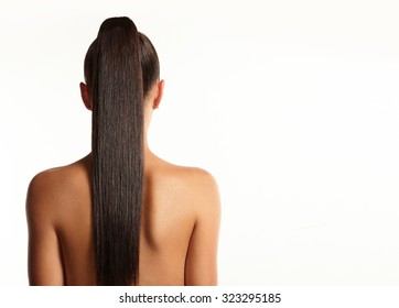 women with a long straight pony tail