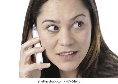 Women looking to the side with her telephone to her ear. She is of filipino ethnicity.