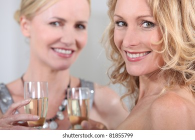 Women making a toast