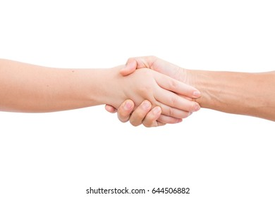 Women and man hands shaking isolated on white background. clipping path