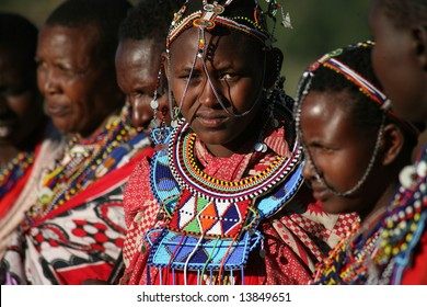 Women from a Masai tribe in the Masai Mara reserve in Kenya