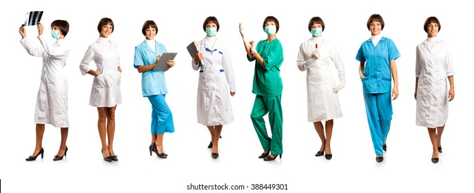 Women in medical overalls isolated on white background
