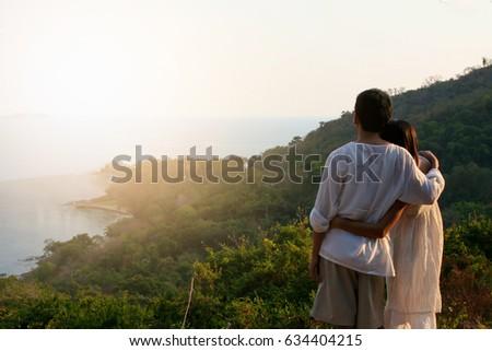 Women Men Embraced Warmly Watching Distant Stock Photo (Edit Now ... 34aa1daabd240