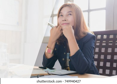 Women with money, compensation, reward of good people, annual bonuses, the trend of earning money as compensation.with copyspace