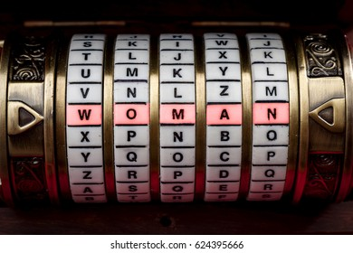 Women are a mystery or a woman is complicated to understand concept with the word woman spelled on a puzzle box or Cryptex. For most men, women tend to be an unsolvable enigma