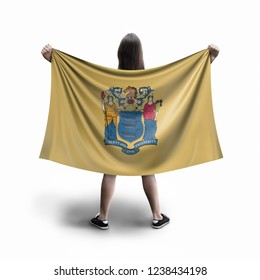 Women and New Jersey flag