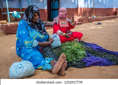 Women from Nubia are harvesting Almalokhia, popular dishes, Aswan. South Egypt, August 2015