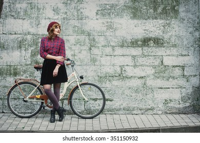 women on the  bike, retro, skirt, street
