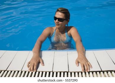 Women on the pool on summer