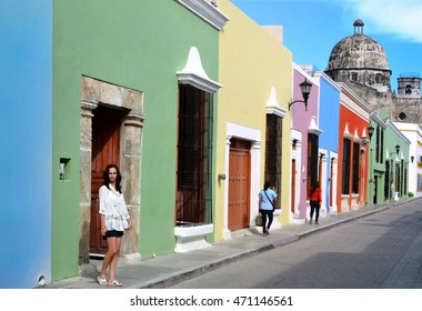 women on street in Campeche City Mexico