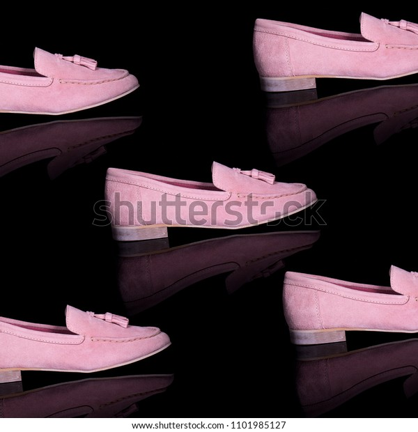 black and pink loafers