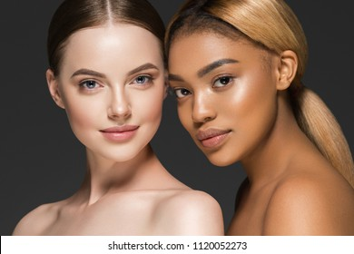 Women portrait mix races black skin and white skin female beauty