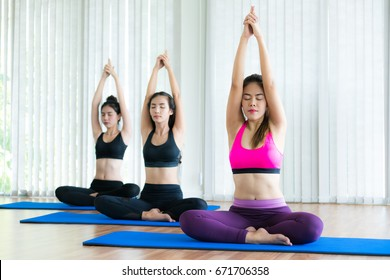 Women practicing yoga pose in fitness gym group class. Healthy lifestyle and wellness concept.