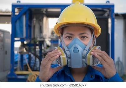 women protection cartridge respirator gas mask - close up.