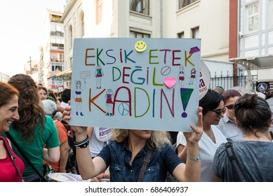 """Women Protesters rally in kadikoy against interfering women clothes. Women carry""""Do not touch my clothes"""" banners: TURKEY, ISTANBUL,29 JULY 2017"""
