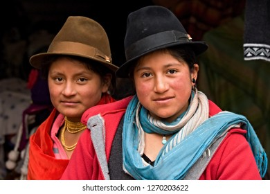 Women Quechua people.Laguna Quilotoa. 19th December 2013. Ecuador. South America.
