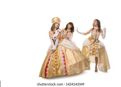 Women in queen long dresses isolated shot