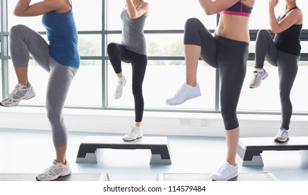 Women raising their legs while doing aerobics in gym