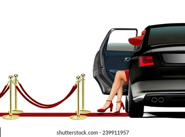 Women in Red Getting out from a Limo