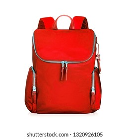 Women Red Nylon Backpack Isolated on White. Travel Daypack with Zippered Compartment for Girls and Ladys. Satchel Rucksack. Canvas School Backpack. Lady Bag Front View with Shoulder Straps