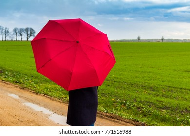 women with red umbrella on green and blue background, stormy clouds on horizon, protection idea concept