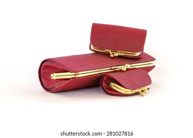 Women red wallet and Red purse on white background
