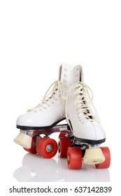 women roller skates quad with red wheels
