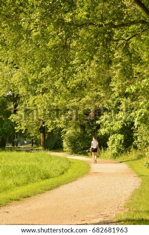 Running Free In Germanys Outdoor >> Women Running Park Germany Westphalia Bielefeld Stock Photo Edit