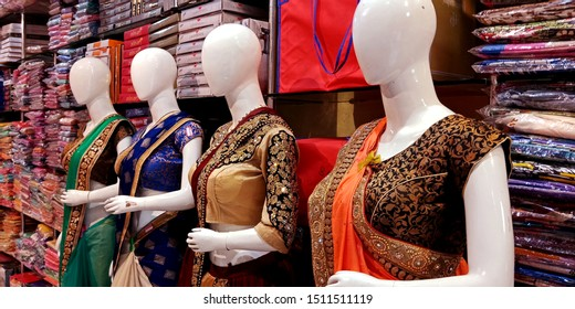 women sculpture wearing sari for displaying in the showroom at district Katni Madhya Pradesh in India shot captured on sep 2019