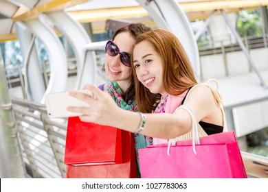 Women selfie after shopping