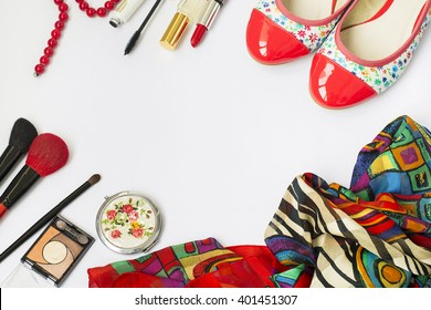 Women set of fashion accessories, shoes, cosmetics and jewelry, copy space background
