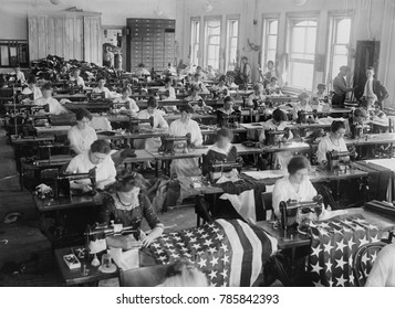 Women sewing American Flags at the Brooklyn Navy Yard, c. 1916-1920