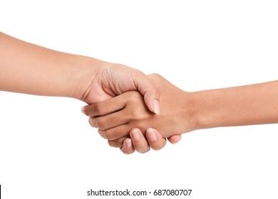 women shaking Hands on White background