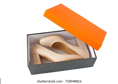 women shoes in box on white background
