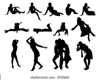 Women silhouettes,vector,black