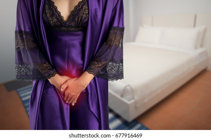 Women in silk nightgown are menstruating at night. People with urinary bladder problem concept