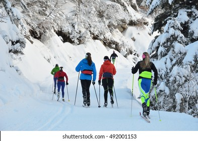 Women are skiing at the groomed trail in the snowy forest. Marcadau valley is a favorite place for cross-country skiing and snow shoeing at both sides of Gave Marcadau in the Pyrenees national park.