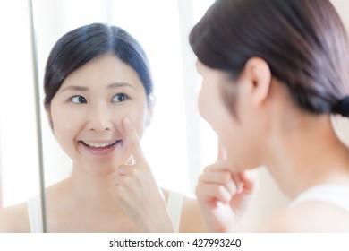 Women skin care , mirror