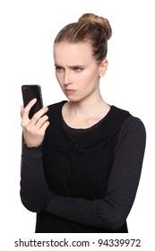 women smartphone frustrated