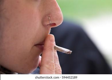 Women smoking a cigarette