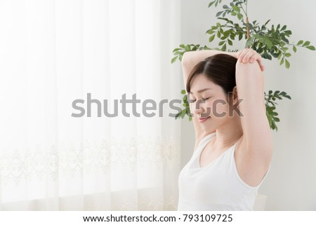 Women Stretching Arms Shoulders Shoulder Blades Stock Photo (Edit