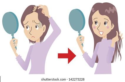 Women suffering from thinning hair