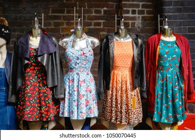 Women summer dresses on display at Camden market in London