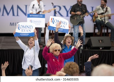 Women supporters for Governor Mitt Romney, the 2012 Republican Presidential Candidate, Presidential Campaign rally in Henderson, Nevada, Henderson Pavilion, October 23, 2012